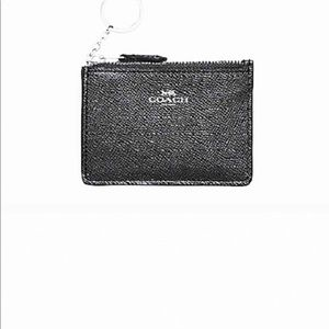 Coach wallet coin purse ID black leather keychain